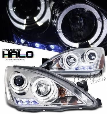 Headlights & Tail Lights - Headlights - OptionRacing - Honda Accord Option Racing Projector Headlights - Chrome with Halo - 11-20296
