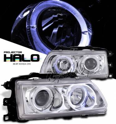 Headlights & Tail Lights - Headlights - OptionRacing - Honda CRX Option Racing Projector Headlights - Chrome with Halo - 11-20325