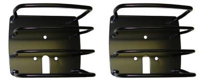 Headlights & Tail Lights - Tail Lights - Omix - Rugged Ridge Euro Guard Kit - Tail Light Guard - Black - 11226-01