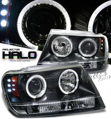 Headlights & Tail Lights - Headlights - OptionRacing - Jeep Grand Cherokee Option Racing Projector Headlight - 11-26303