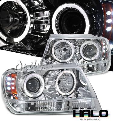 Headlights & Tail Lights - Headlights - OptionRacing - Jeep Grand Cherokee Option Racing Projector Headlight - 11-26304