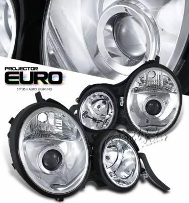 Headlights & Tail Lights - Headlights - OptionRacing - Mercedes-Benz E Class Option Racing Projector Headlights - Chrome - 11-32226
