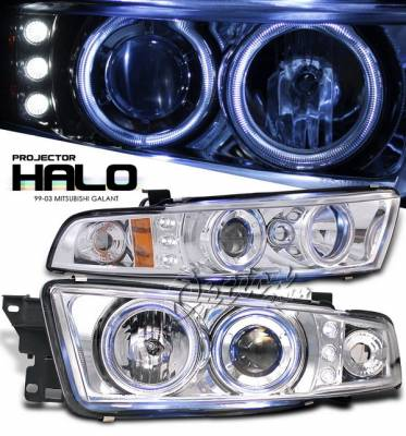 Headlights & Tail Lights - Headlights - OptionRacing - Mitsubishi Galant Option Racing Projector Headlights with Amber Reflector - Chrome with Halo LED - 11-35274-N