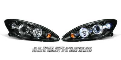 Headlights & Tail Lights - Headlights - OptionRacing - Toyota Camry Option Racing Projector Headlights - Black with Halo - 11-44256