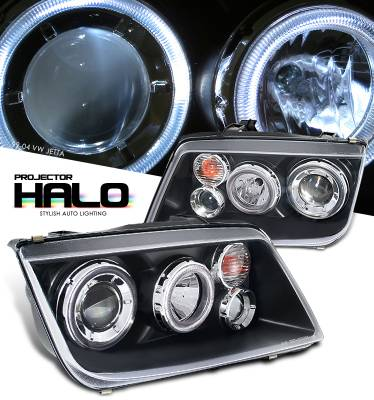 Headlights & Tail Lights - Headlights - OptionRacing - Volkswagen Jetta Option Racing Projector Headlight - 11-45271