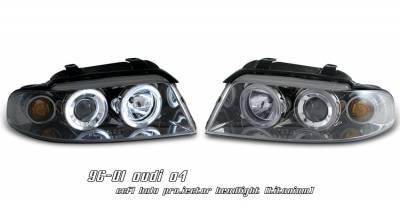 Headlights & Tail Lights - Headlights - OptionRacing - Audi A4 Option Racing CCFL Projector Headlight - 12-11103