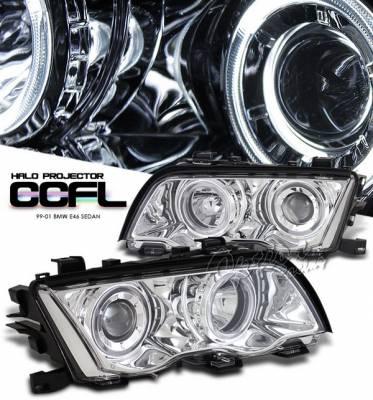 Headlights & Tail Lights - Headlights - OptionRacing - BMW 3 Series 4DR Option Racing Headlights CCFL Projector - Chrome with CCFL Halo - 12-12113