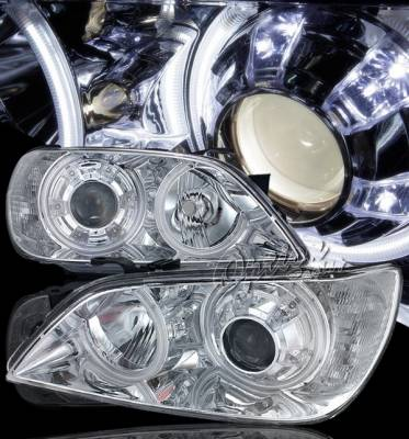 Headlights & Tail Lights - Headlights - OptionRacing - Lexus IS Option Racing CCFL Projector Headlights - Chromed Housing with LED City Lights - 12-29131