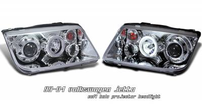 Headlights & Tail Lights - Headlights - OptionRacing - Volkswagen Jetta Option Racing CCFL Projector Headlight - 12-45128