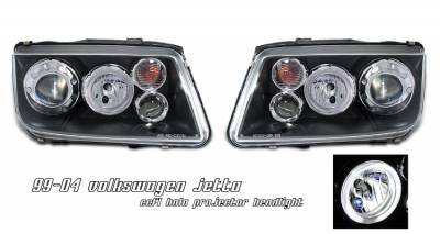 Headlights & Tail Lights - Headlights - OptionRacing - Volkswagen Jetta Option Racing CCFL Projector Headlight - 12-45129