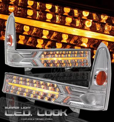 Headlights & Tail Lights - Headlights - OptionRacing - Ford F250 Option Racing Bumper Light - Chrome Diamond Cut - 16-18130