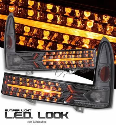 Headlights & Tail Lights - Headlights - OptionRacing - Ford F250 Option Racing Bumper Light - Smoke Diamond Cut - 16-18131