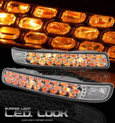 Headlights & Tail Lights - Headlights - OptionRacing - GMC Sierra Option Racing Bumper Light - Chrome Diamond Cut - 16-19132