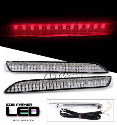 Headlights & Tail Lights - Corner Lights - OptionRacing - Lexus RX Option Racing Side Marker - Smoke LED Light With Brake Function - 16-29114