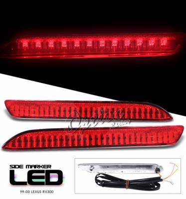 Headlights & Tail Lights - Corner Lights - OptionRacing - Lexus RX Option Racing Side Marker - Red LED Light With Brake Function - 16-29115