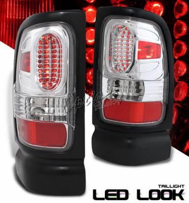 Headlights & Tail Lights - Led Tail Lights - OptionRacing - Dodge Ram Option Racing Taillights LED Look - Chrome Diamond Cut - 17-17365