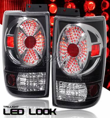 Headlights & Tail Lights - Tail Lights - OptionRacing - Ford Expedition Option Racing Taillights - Black Chrome Diamond Cut - 19-18360