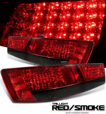 Headlights & Tail Lights - Led Tail Lights - OptionRacing - Hyundai Sonata Option Racing LED Taillights - Red & Smoke LED Taillights - 21-22127