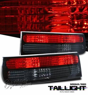 Headlights & Tail Lights - LED Tail Lights - OptionRacing - Nissan 300Z Option Racing LED Taillights - Red & Smoke - 21-36187