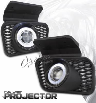 Headlights & Tail Lights - Fog Lights - OptionRacing - Chevrolet Silverado Option Racing Fog Light Kit - Halo Projector - 28-15230
