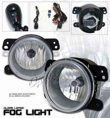 Headlights & Tail Lights - Fog Lights - OptionRacing - Chrysler 300 Option Racing Fog Light Kit - Plastic with Wiring Kit - Clear - 28-16208