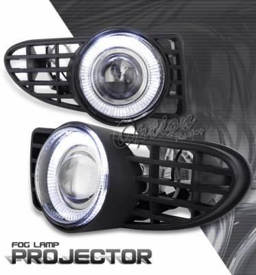 Headlights & Tail Lights - Fog Lights - OptionRacing - Chrysler PT Cruiser Option Racing Fog Light Kit - Halo Projector - 28-16231
