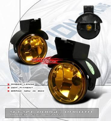 Headlights & Tail Lights - Fog Lights - OptionRacing - Dodge Dakota Option Racing Fog Light Kit - Amber - 28-17113
