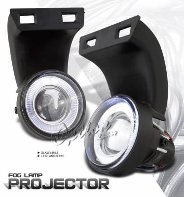 Headlights & Tail Lights - Fog Lights - OptionRacing - Dodge Ram Option Racing Fog Light Kit - Halo Projector - 28-17235
