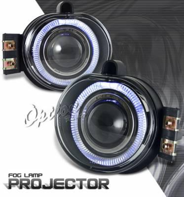 Headlights & Tail Lights - Fog Lights - OptionRacing - Dodge Ram Option Racing Fog Light Kit - Halo Projector - 28-17236
