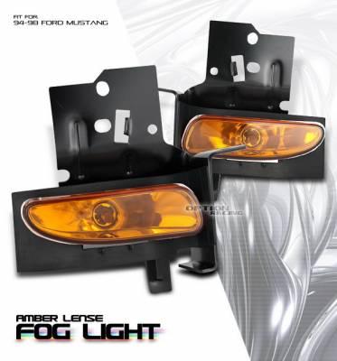 Headlights & Tail Lights - Fog Lights - OptionRacing - Ford Mustang Option Racing Fog Light Kit - Amber - 28-18121