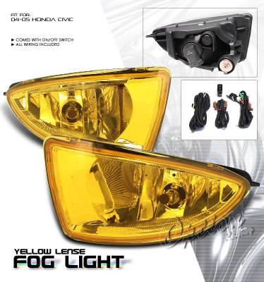 Headlights & Tail Lights - Fog Lights - OptionRacing - Honda Civic Option Racing Fog Light Kit - 28-20175