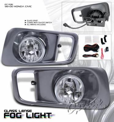 Headlights & Tail Lights - Fog Lights - OptionRacing - Honda Civic Option Racing Fog Light Kit with Wiring Kit - Clear - 28-20176