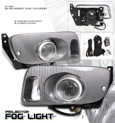 Headlights & Tail Lights - Fog Lights - OptionRacing - Honda Civic Option Racing Fog Light Kit - 28-20178