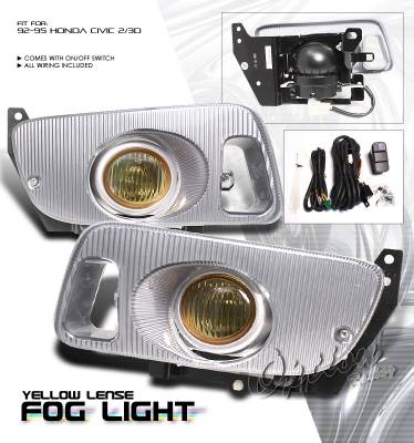 Headlights & Tail Lights - Fog Lights - OptionRacing - Honda Civic Option Racing Fog Light Kit - 28-20179