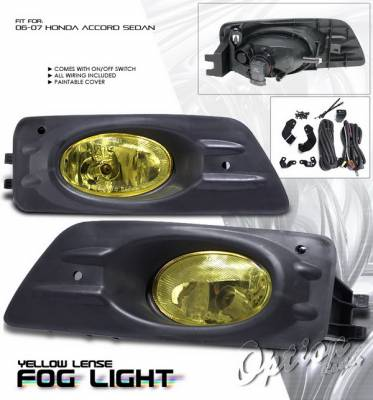Headlights & Tail Lights - Fog Lights - OptionRacing - Honda Accord 4DR Option Racing Fog Light Kit with Wiring Kit - Yellow - 28-20200