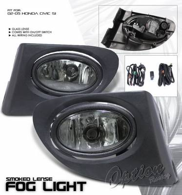 Headlights & Tail Lights - Fog Lights - OptionRacing - Honda Civic Option Racing Fog Light Kit with Wiring Kit - Smoke - 28-20209