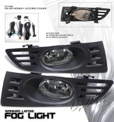Headlights & Tail Lights - Fog Lights - OptionRacing - Honda Accord 2DR Option Racing Fog Light Kit with Wiring Kit - Smoke - 28-20210