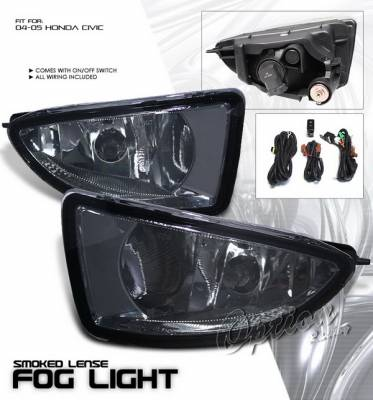 Headlights & Tail Lights - Fog Lights - OptionRacing - Honda Civic Option Racing Fog Light Kit with Wiring Kit - Smoke - 28-20212