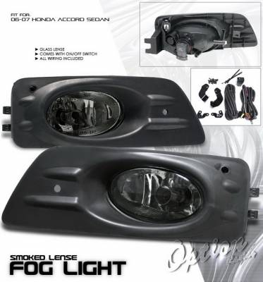 Headlights & Tail Lights - Fog Lights - OptionRacing - Honda Accord 4DR Option Racing Fog Light Kit with Wiring Kit - Smoke - 28-20216