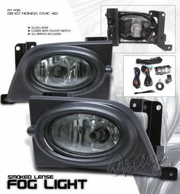 Headlights & Tail Lights - Fog Lights - OptionRacing - Honda Civic 4DR Option Racing Fog Light Kit with Wiring Kit - Smoke - 28-20218