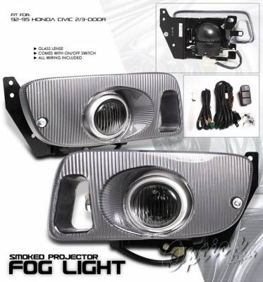 Headlights & Tail Lights - Fog Lights - OptionRacing - Honda Civic HB Option Racing Fog Light Kit with Wiring Kit - Smoke - 28-20220
