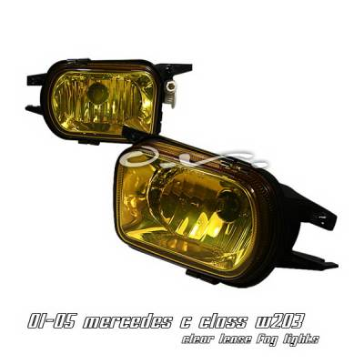 Headlights & Tail Lights - Fog Lights - OptionRacing - Mercedes-Benz C Class Option Racing Fog Light Kit - Amber - 28-32139