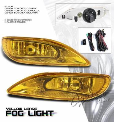 Headlights & Tail Lights - Fog Lights - OptionRacing - Toyota Corolla Option Racing Fog Light Kit with Wiring Kit - Yellow - 28-44185