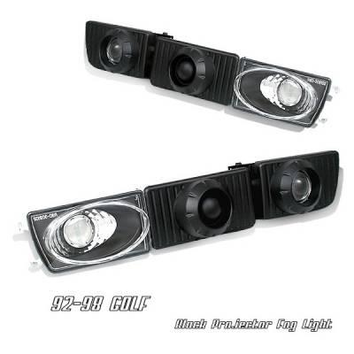 Headlights & Tail Lights - Fog Lights - OptionRacing - Volkswagen Golf Option Racing Fog Light Kit - Black Projector - 28-45164