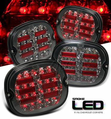 Headlights & Tail Lights - Led Tail Lights - OptionRacing - Chevrolet Corvette Option Racing LED Taillights - Smoke LED Version - 75-15158