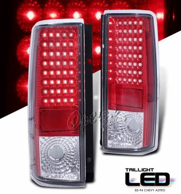 Headlights & Tail Lights - LED Tail Lights - OptionRacing - Chevrolet Astro Option Racing LED Taillights - Red & Clear - 75-15365
