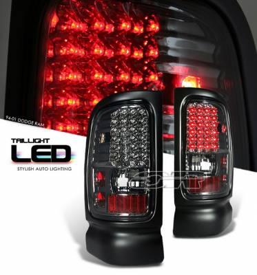 Headlights & Tail Lights - Led Tail Lights - OptionRacing - Dodge Ram Option Racing LED Taillights - Smoke Full LED Version - 75-17183
