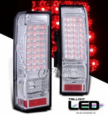Headlights & Tail Lights - LED Tail Lights - OptionRacing - Hummer H3 Option Racing LED Taillights - Chrome Full LED Version - 75-21331
