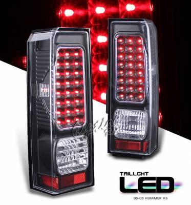Headlights & Tail Lights - LED Tail Lights - OptionRacing - Hummer H3 Option Racing LED Taillights - Black Full LED Version - 75-21332
