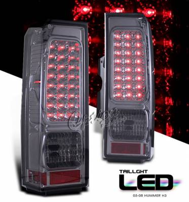 Headlights & Tail Lights - LED Tail Lights - OptionRacing - Hummer H3 Option Racing LED Taillights - Smoke Full LED Version - 75-21333